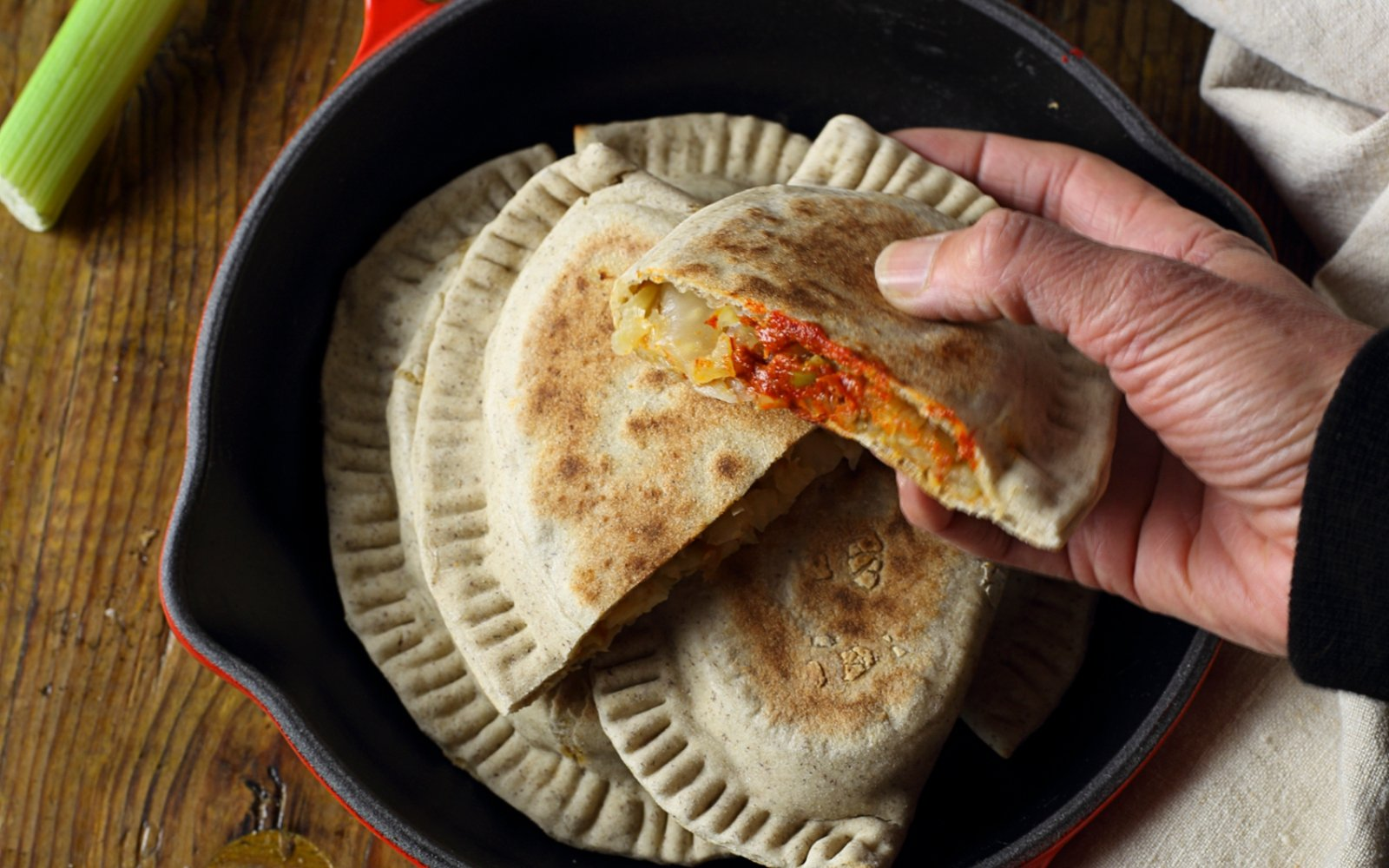 Fennel and Harissa Stuffed Buckwheat Panzerotti