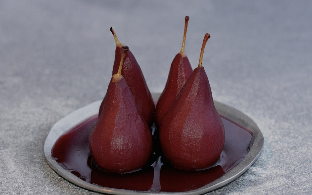 vegan red wine poached pears