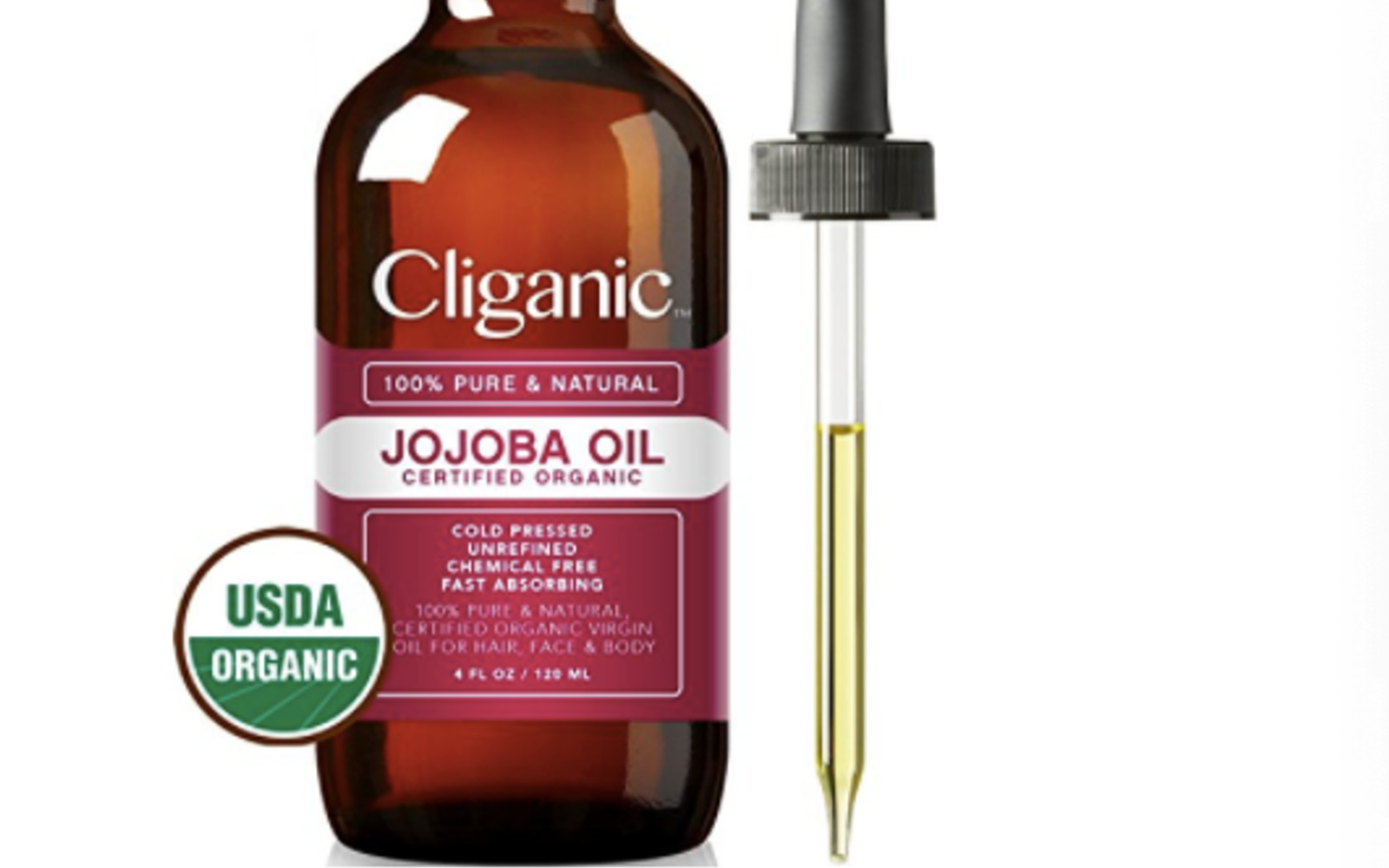 Organic Jojoba Oil, 100% Pure (4oz Large) | Natural Cold Pressed Unrefined Hexane Free Oil for Hair & Face | Carrier Oil - Certified Organic | Cliganic 90 Days Warranty