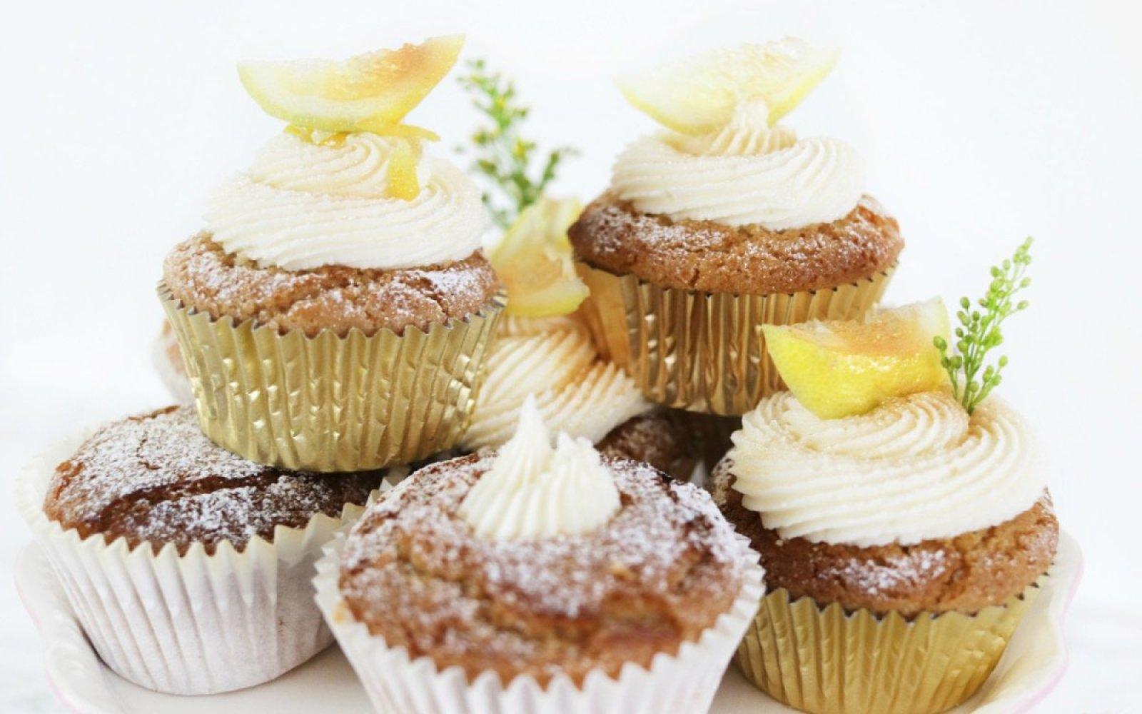 Vegan Gluten-Free Lemon Drizzle Cupcakes Stacked