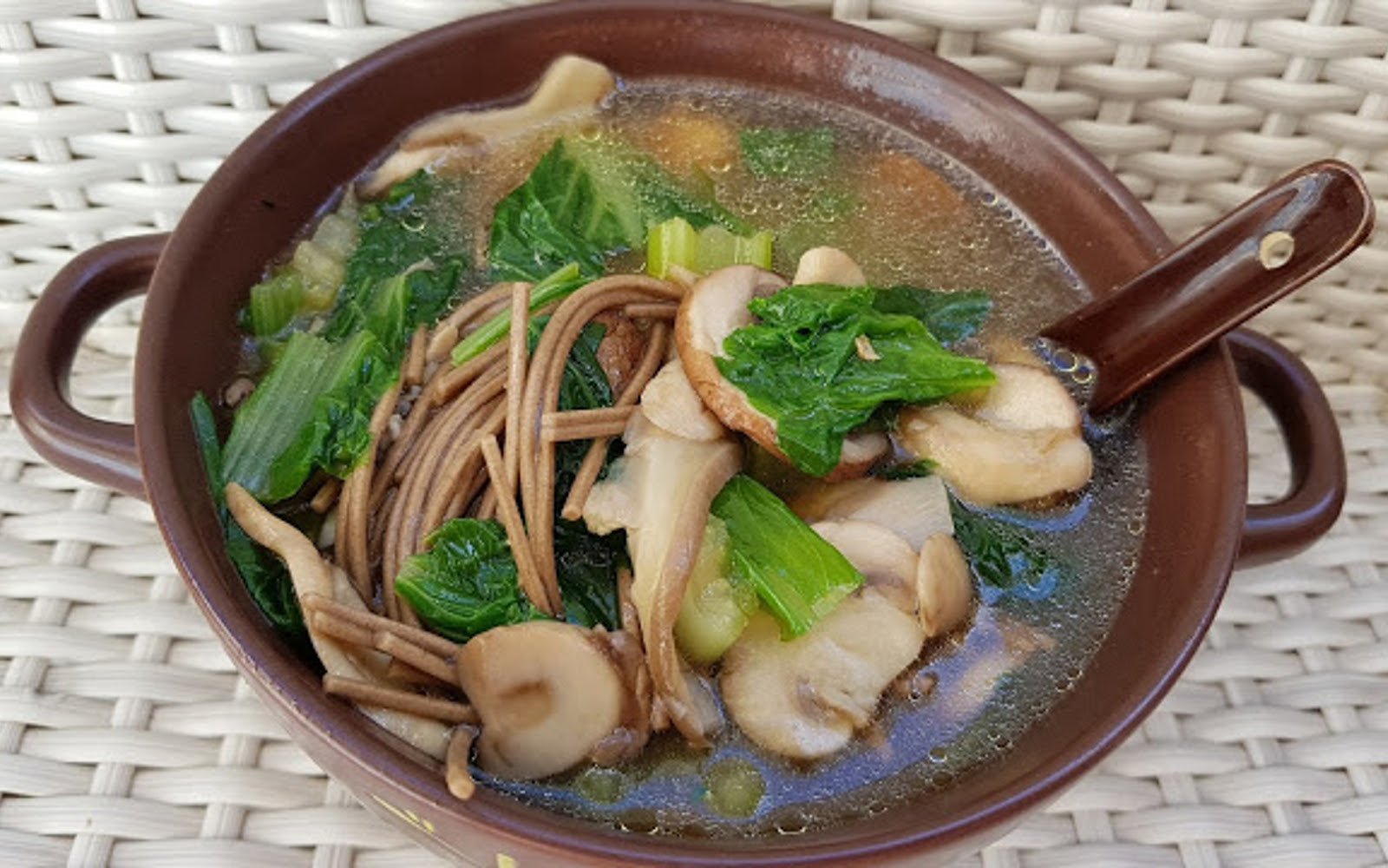 Vegan Soba Noodle Soup with Mushrooms and Chinese Cabbage
