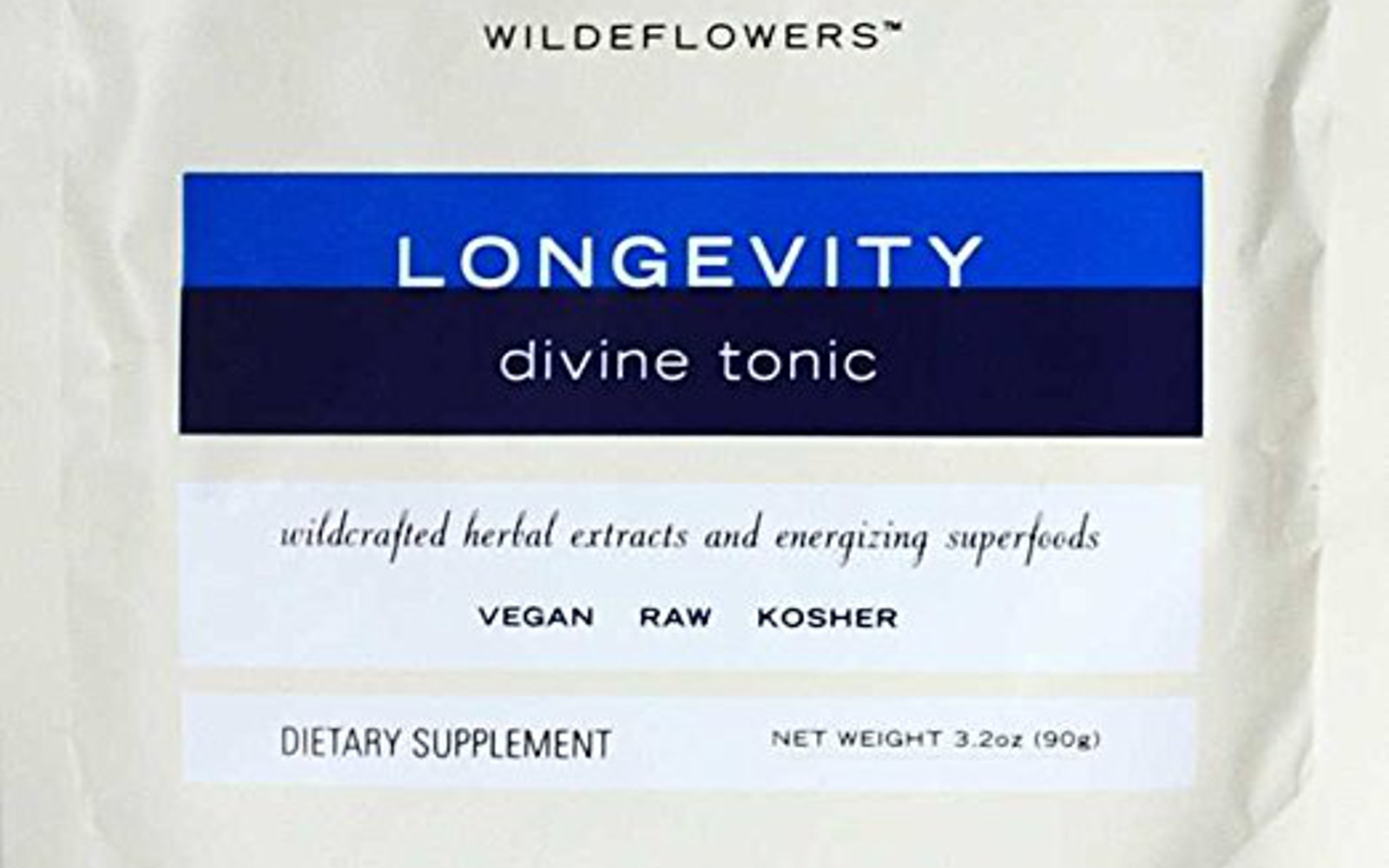 Wildeflowers Longevity Divine Tonic Hot Chocolate Mix - Organic, Natural, Kosher, Vegan, Gluten Free, Rich In Zinc And Iron With Raw Cacao, 3.2 Ounces