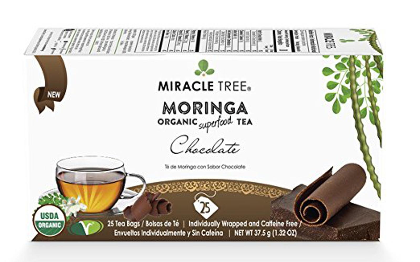 Miracle Tree - Organic Moringa Superfood Tea, 25 Individually Sealed Tea Bags, Chocolate