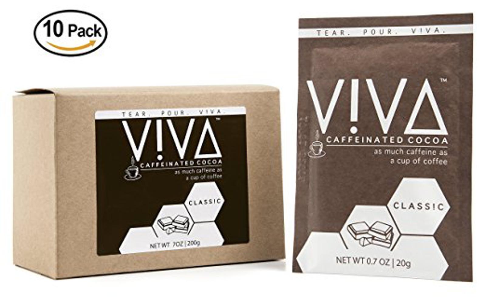 VIVA Caffeinated Hot Cocoa. Premium Chocolate Cocoa with 100 mg Shot of Caffeine (10 Pouches)