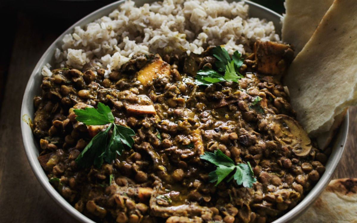 Vegan Curried Green Lentil Dal With Sweet Potatoes and Mushrooms