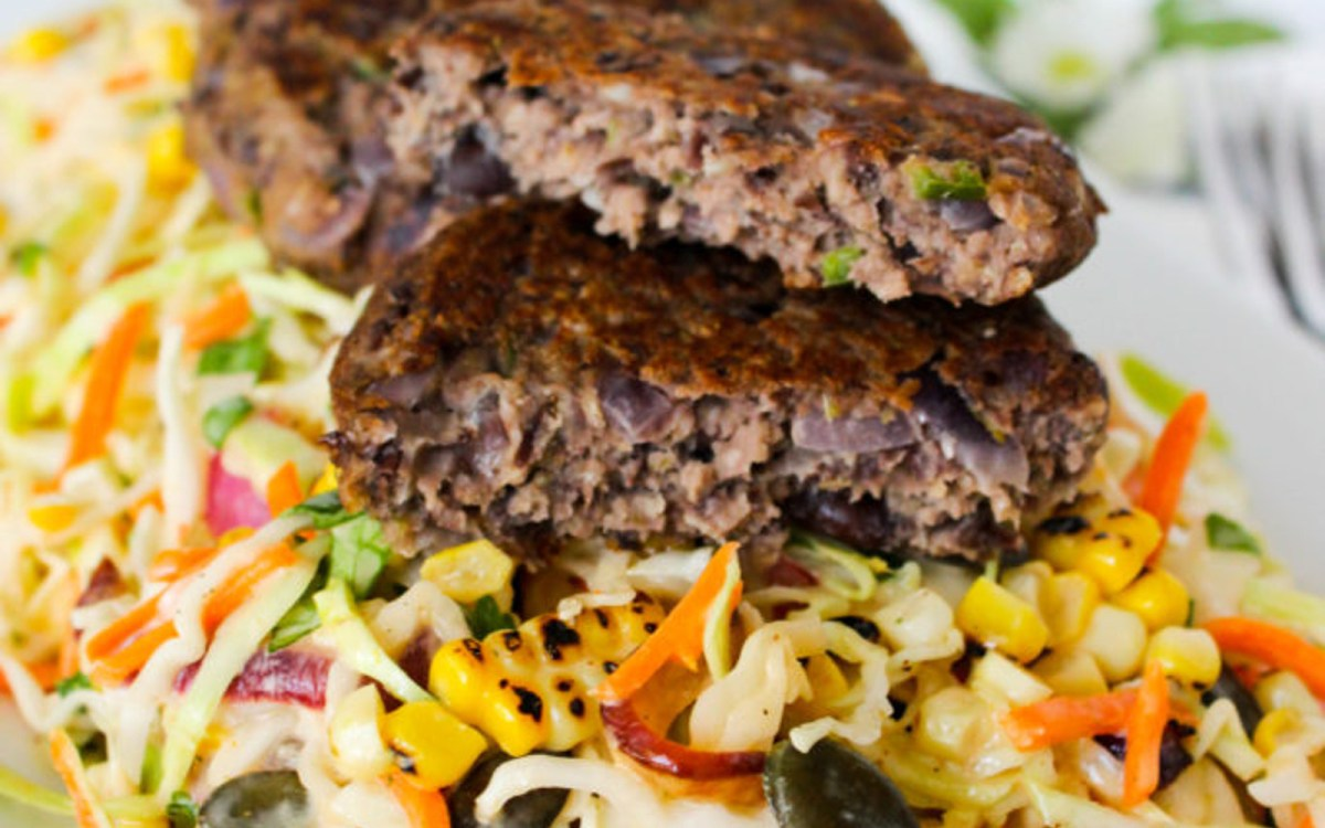 Jalapeño Black Bean Patties With Mexican Coleslaw