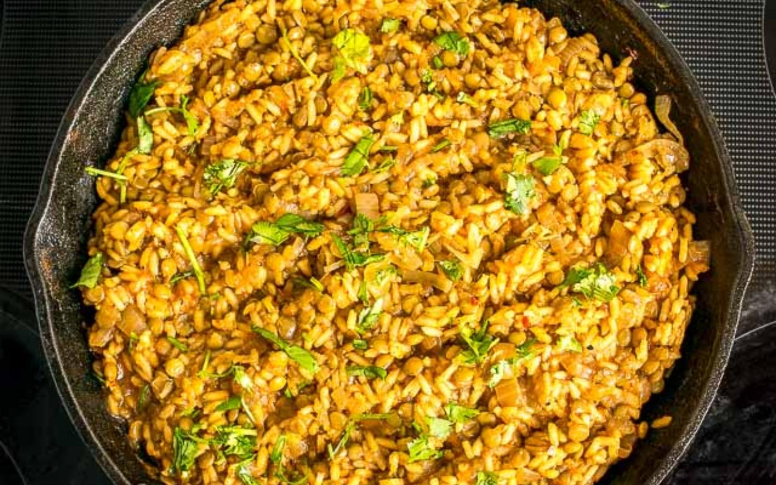 vegan one pot lentils and rice