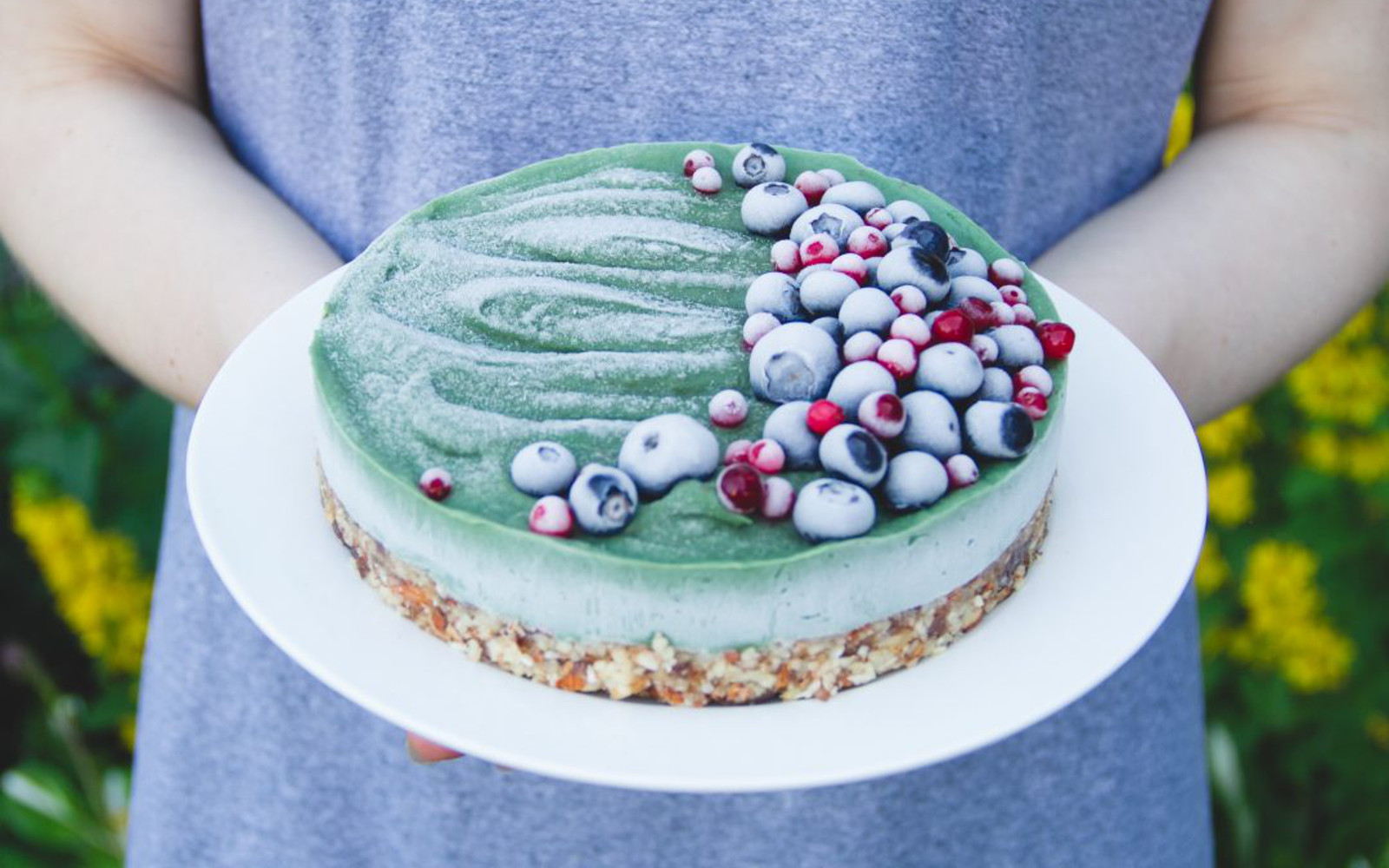 Vegan GLuten-Free Vegan Raw Superfood Avocado Cake with fruit topping