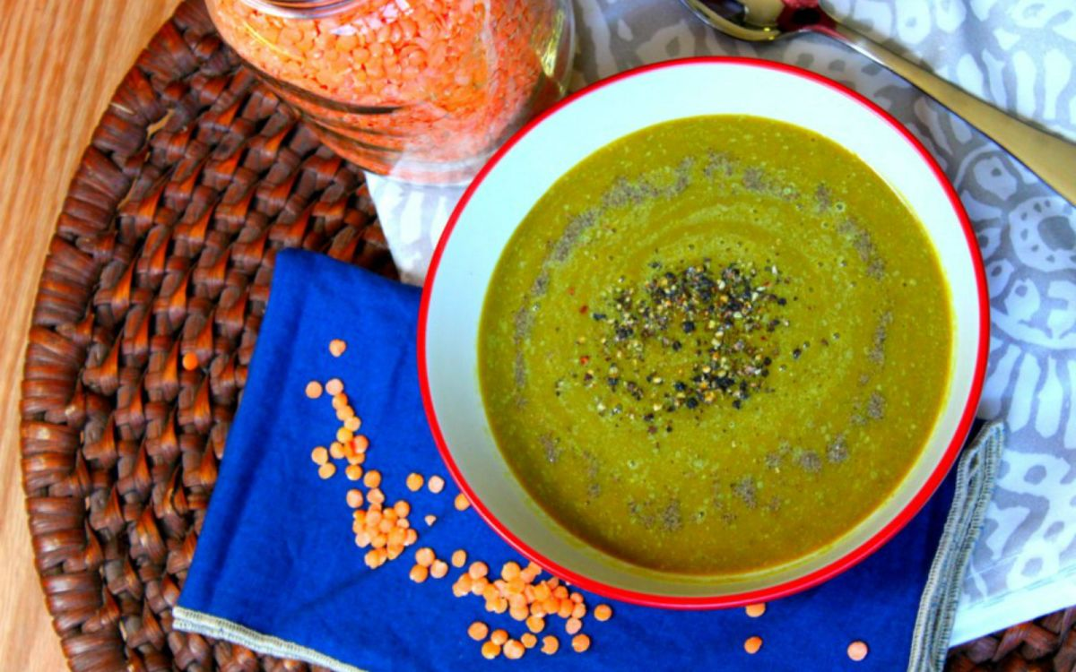 Vegan Anti-Inflammatory Red Lentil Soup With Caramelized Onions