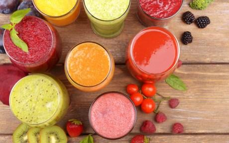 Vegan juices with fruit