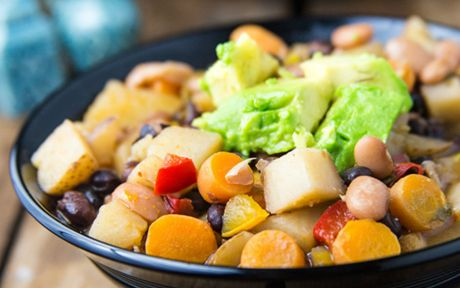 Vegan, Gluten-Free Quick Mexican Stew with Kale and Chipotle and chickpeas and avocado topping