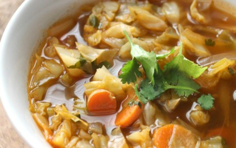 Vegan Gluten-Free Spicy Cabbage Detox Soup topped with parsley