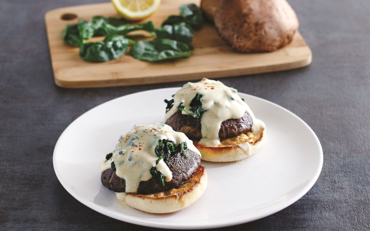 Vegan Instant Pot Spinach and Portobello Benedict