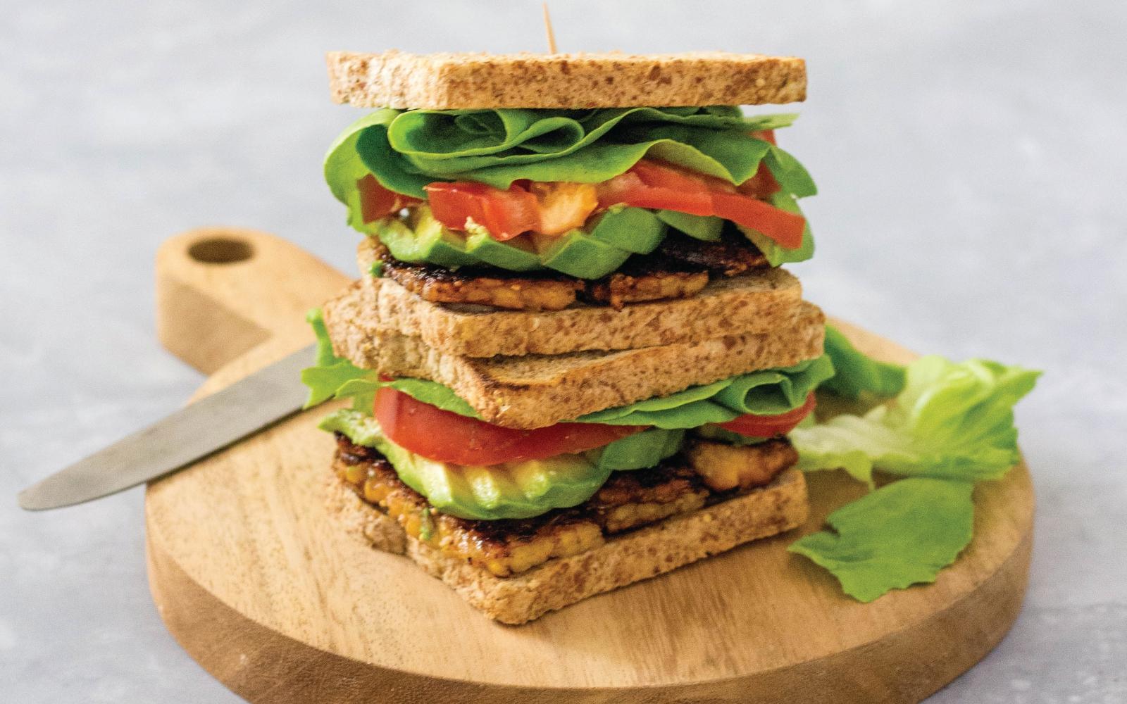 Vegan TLT: Tempeh Lettuce Tomato Sandwich