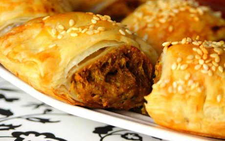 Vegan Sausage Rolls stuffed with vital wheat gluten