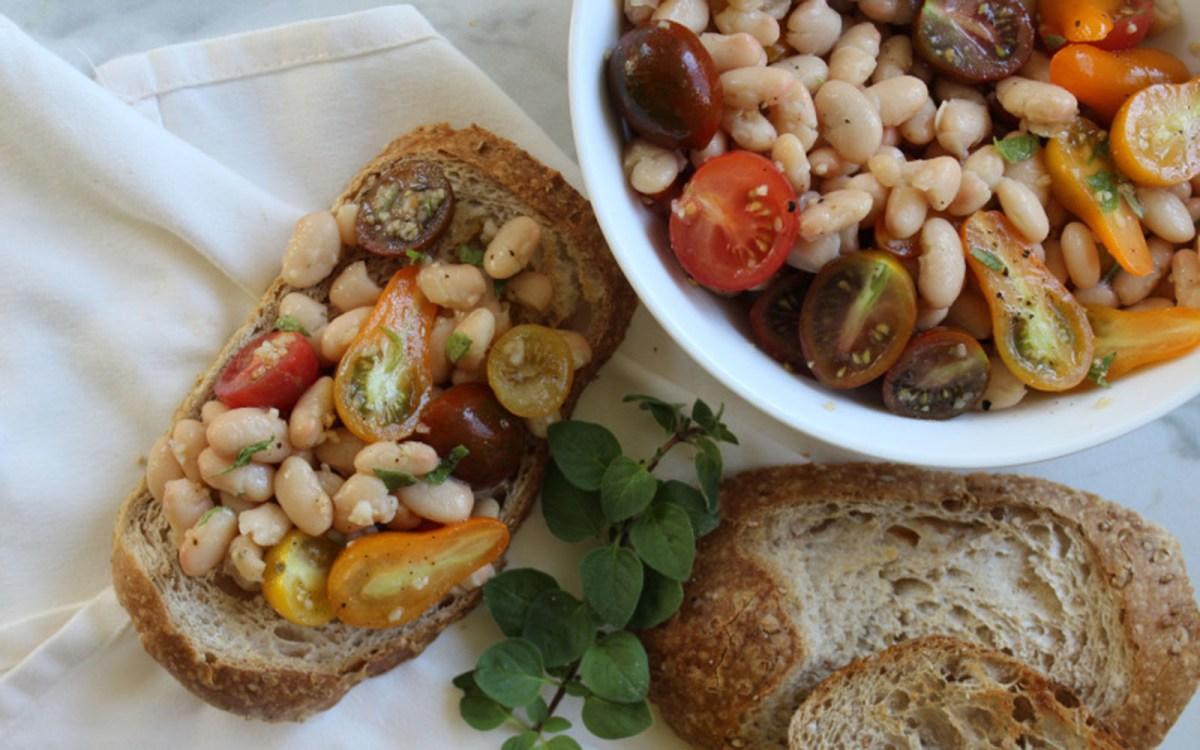 Heirloom Tomato and White Bean Bruschetta