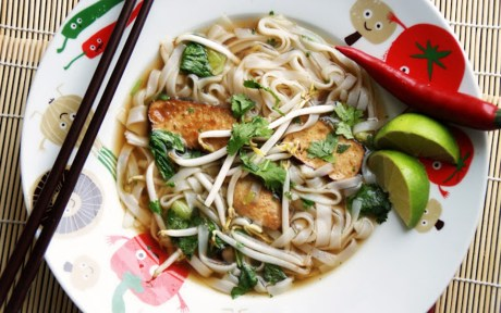 Vegan Vietnamese Noodle Soup with mushrooms and green onions