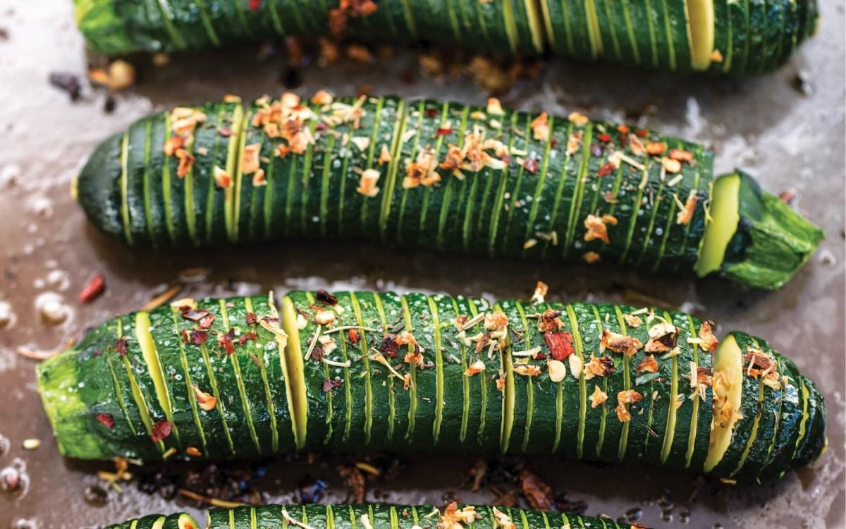 Vegan Hasselback Zucchini