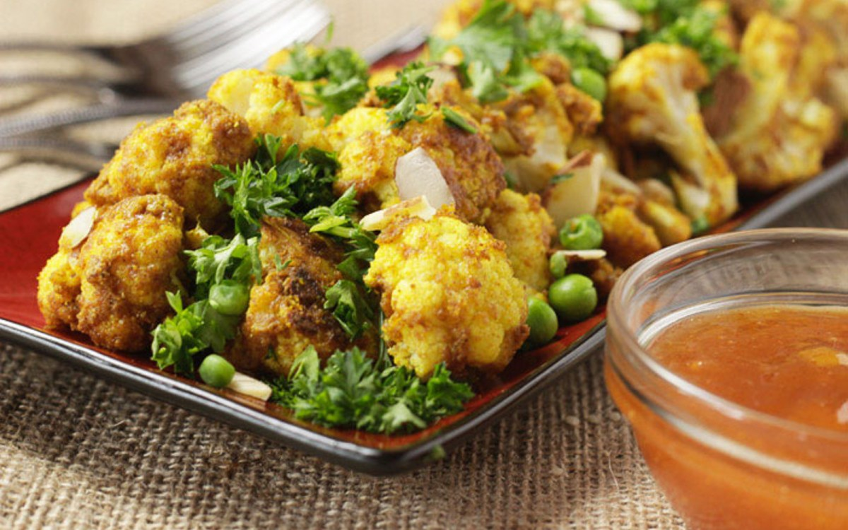 Roasted Curried Cauliflower With Peas