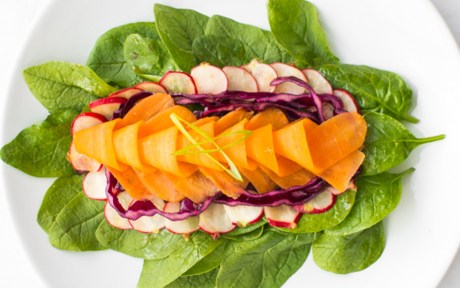 Raw Vegan GLuten-free Carrot and Radish Salad with Lime Ginger Dressing with cabbage