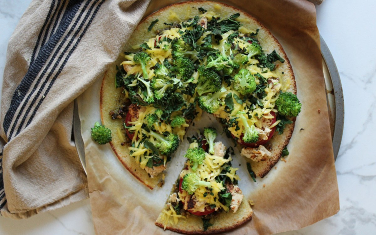 Broccoli Chicken Kale Pesto Cauliflower Crust Pizza [Vegan]