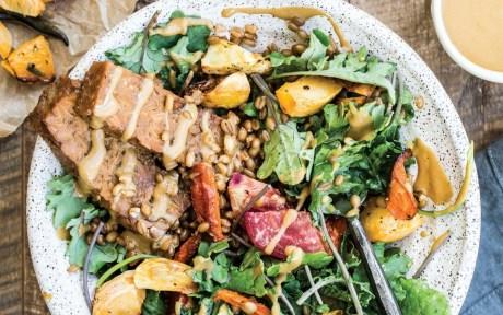 Vegan Tempeh and Spelt Harvest Bowl