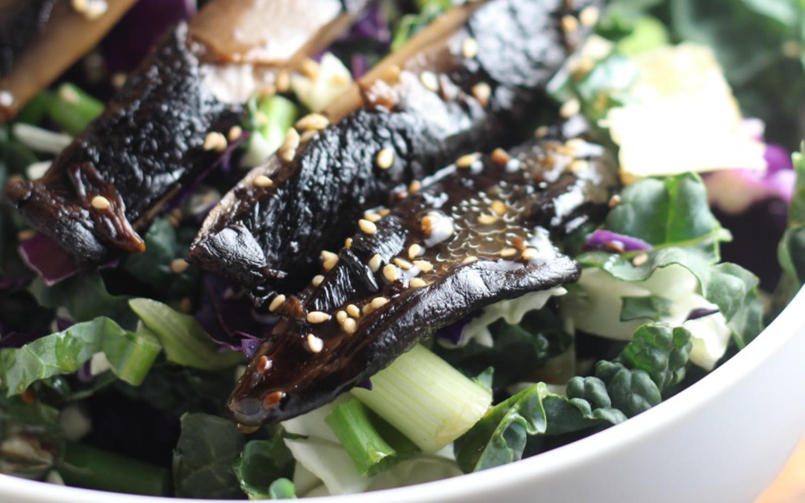 Vegan Marinated Portobello Sesame Salad with Wonton Crisps and ginger dressing