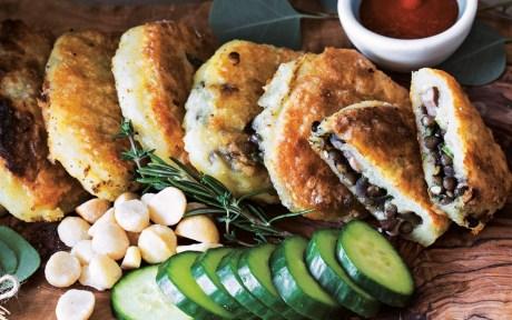 Lentil-Stuffed Potato Cakes