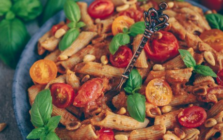 Vegan Creamy Tomato Pasta with Almond Butter with fresh tomatoes