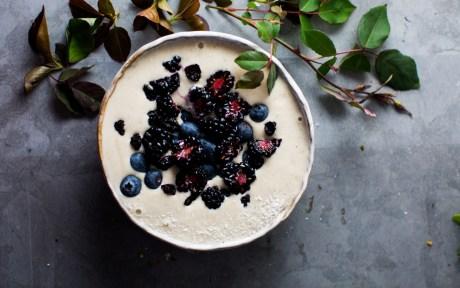 Vegan Vanilla and Cashew Protein Smoothie fresh blueberries