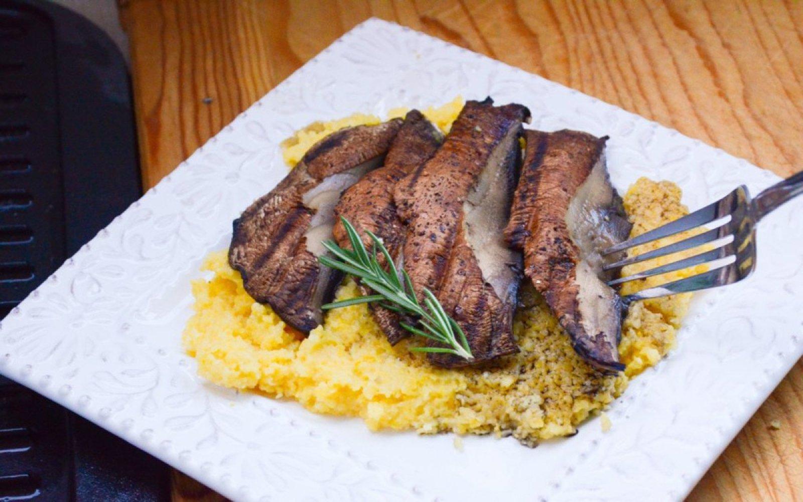 Portobello Mushroom Steaks With Cheesy Rosemary Polenta [Vegan, Gluten-Free]