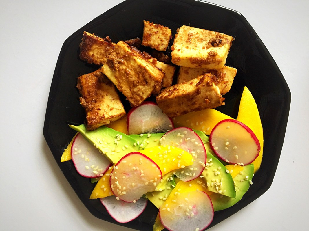 Almond Butter Roasted Tofu with Mango Avocado Salad