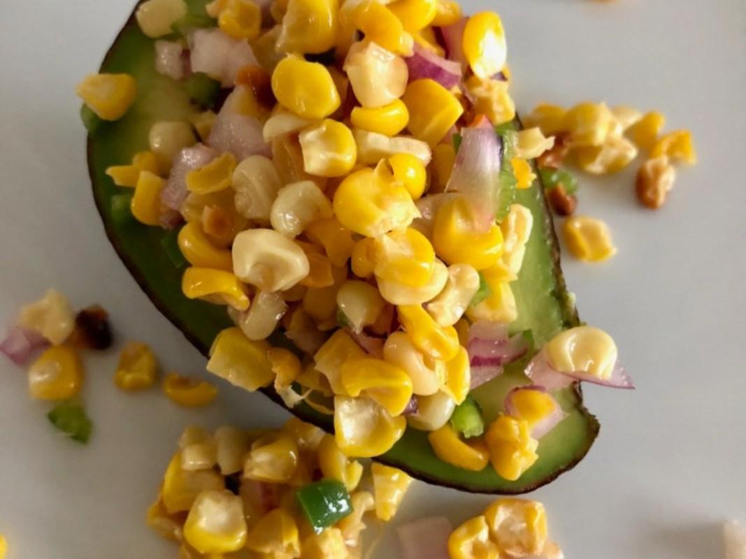Corn on the Cob Salsa Stuffed Avocado [Vegan]