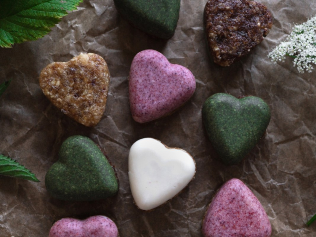 Raspberry and Peppermint Coconut Butter Hearts