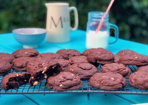 chocolate cookies, one handed baker, easy recipe