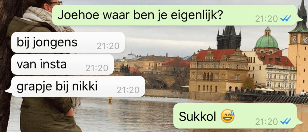 whatsapp gesprek met puber