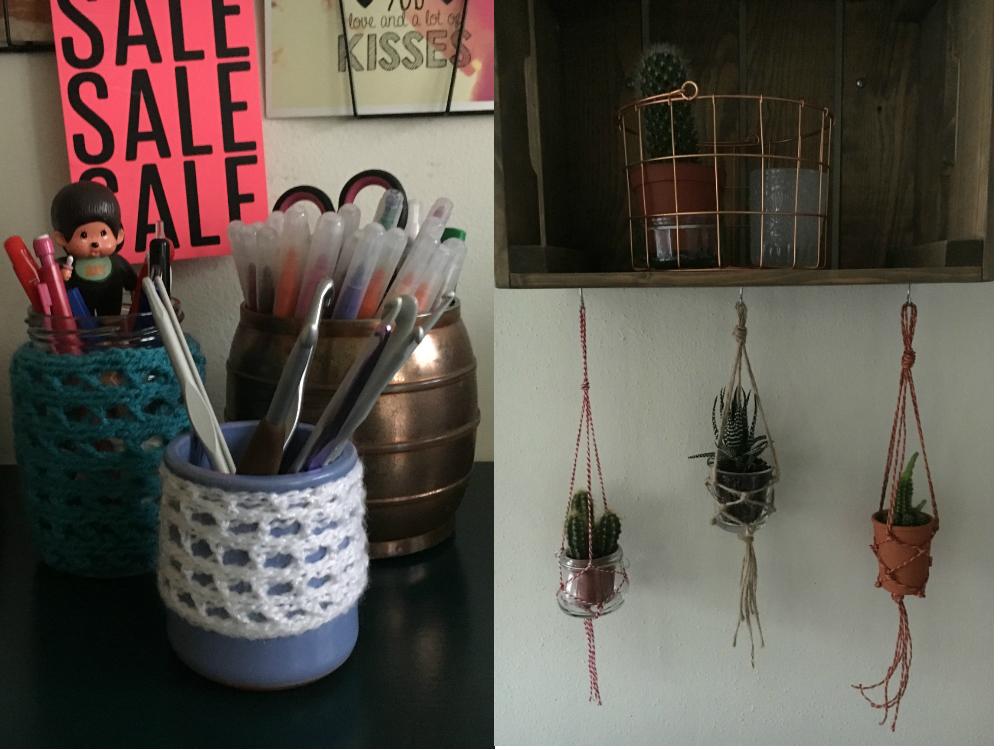 gehaakte potjes en geknoopte hangers
