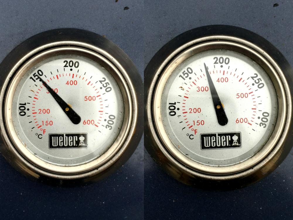 temperatuur van de Weber loopt op
