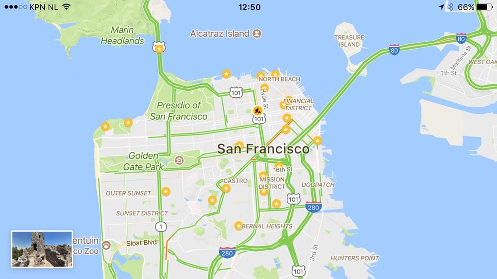 Google Maps opgeslagen San Francisco