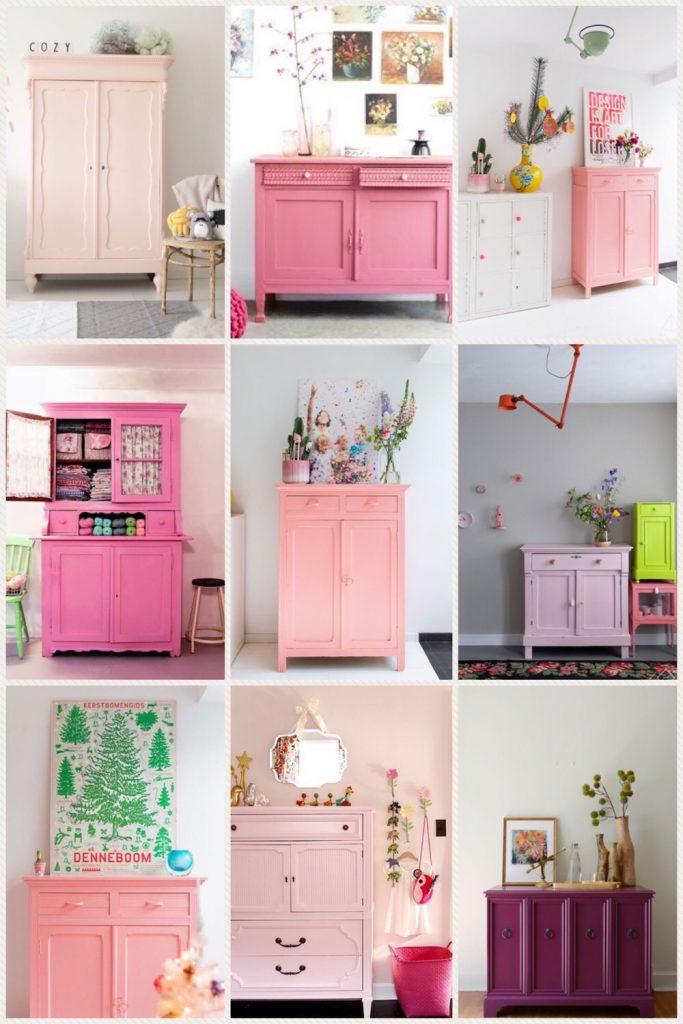 roze geverfde antieke kast