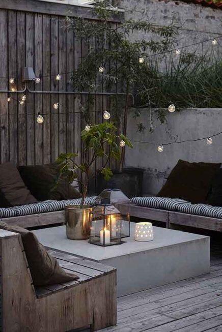 lichtsnoer in de tuin