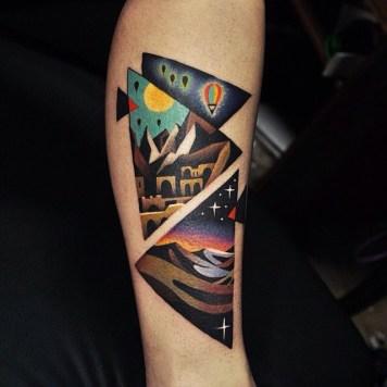 colourful triangle tattoo