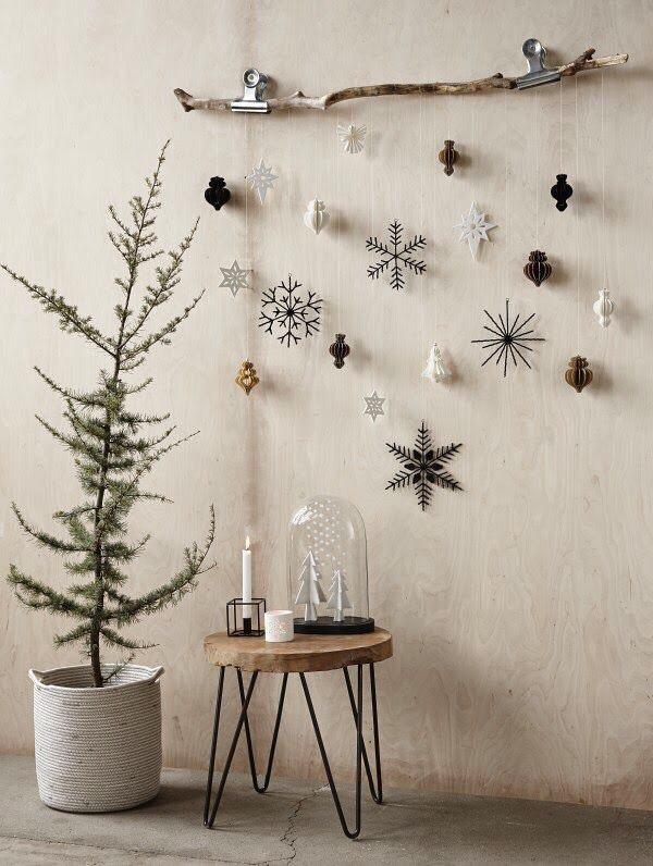 kerststerren aan de muur