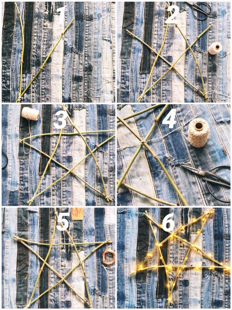 Kerstster van houten takken maken