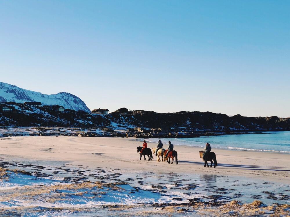 paardrijden op de Lofoten eilanden