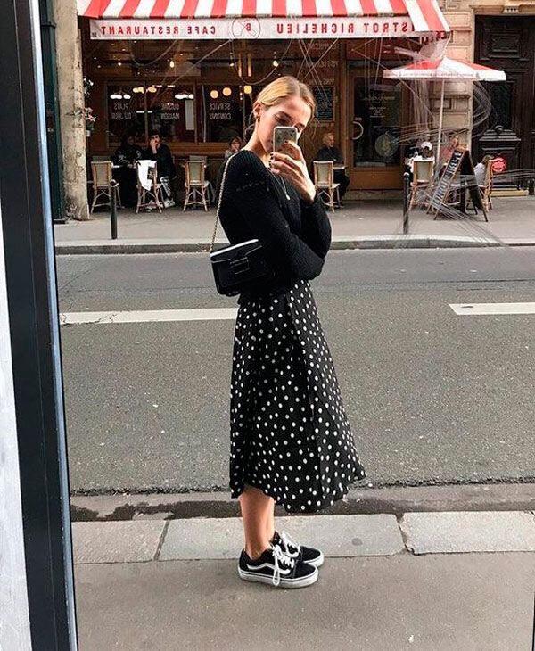 midi skirt with Vans