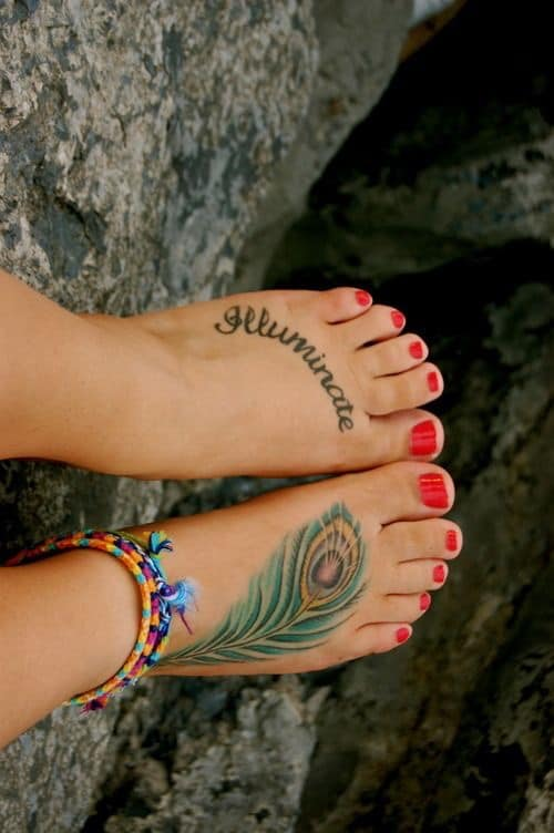 foot tattoo feather