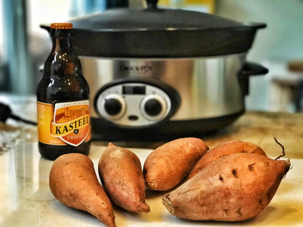 zoete aardappel en kasteelbier