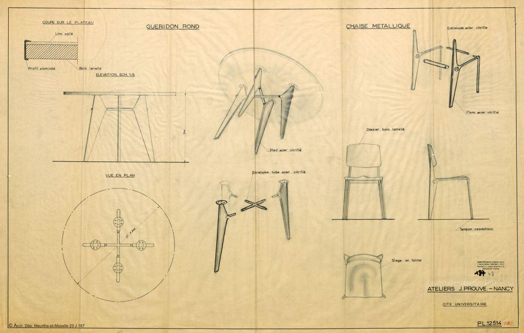 ontwerptekening Jean Prouve