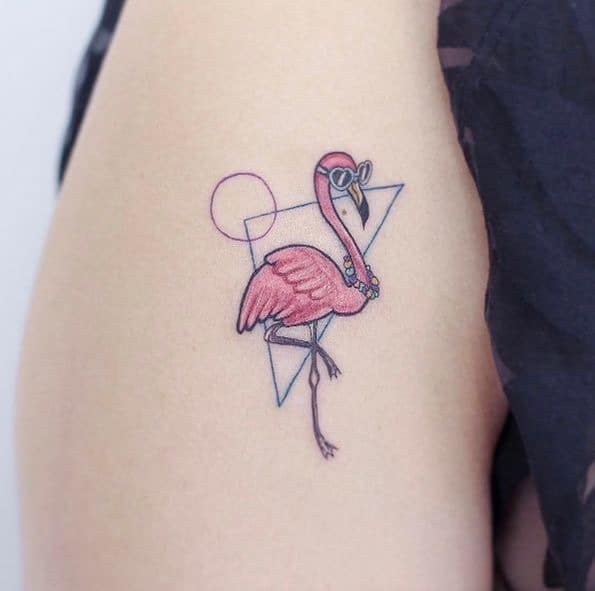 geometric flamingo tattoos